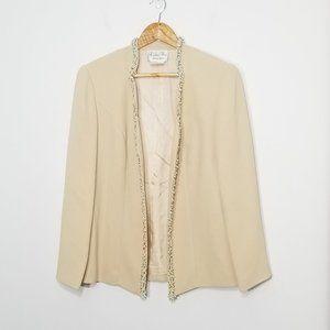 Laurence Dress | Cream Beaded Trim Dress Blazer 10